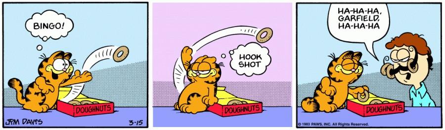 Оригинал комикса про Гарфилда от 15 марта 1983 года