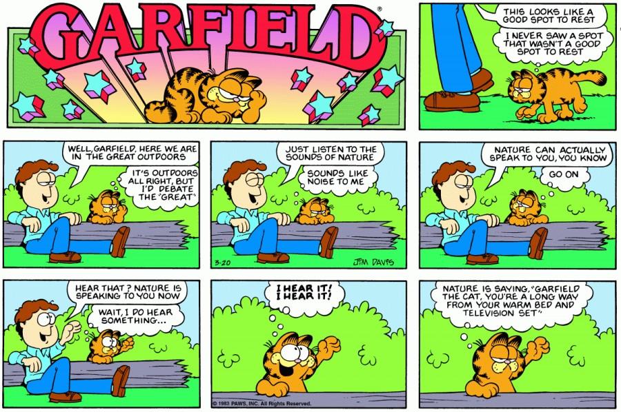 Оригинал комикса про Гарфилда от 20 марта 1983 года