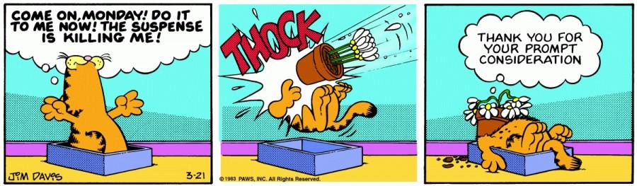 Оригинал комикса про Гарфилда от 21 марта 1983 года