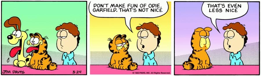 Оригинал комикса про Гарфилда от 24 марта 1983 года