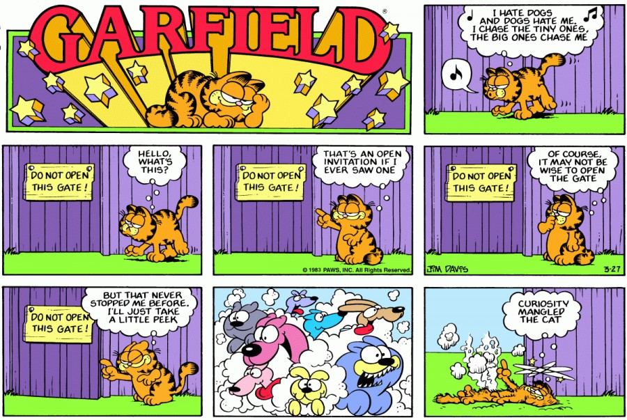 Оригинал комикса про Гарфилда от 27 марта 1983 года