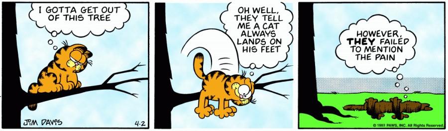 Оригинал комикса про Гарфилда от 02 апреля 1983 года