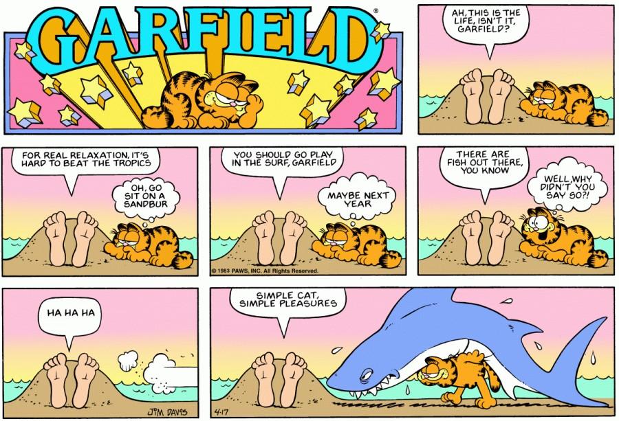 Оригинал комикса про Гарфилда от 17 апреля 1983 года