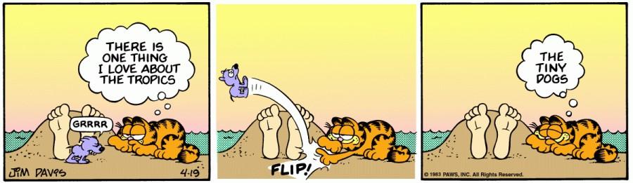 Оригинал комикса про Гарфилда от 19 апреля 1983 года