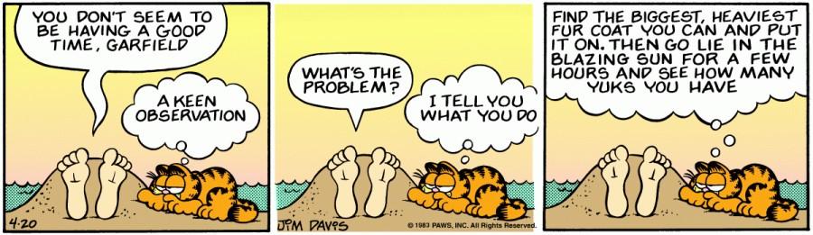 Оригинал комикса про Гарфилда от 20 апреля 1983 года