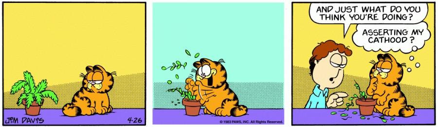 Оригинал комикса про Гарфилда от 26 апреля 1983 года