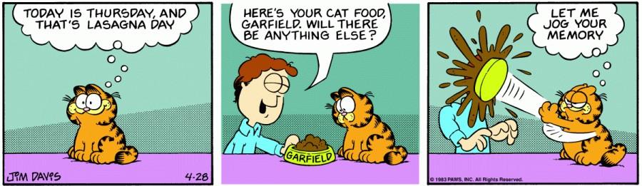 Оригинал комикса про Гарфилда от 28 апреля 1983 года