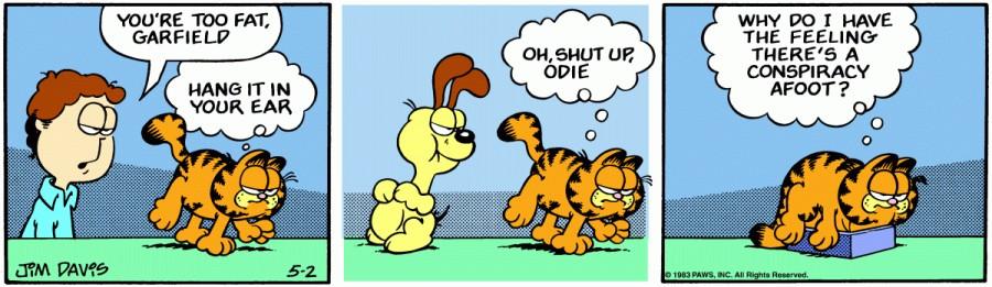 Оригинал комикса про Гарфилда от 02 мая 1983 года