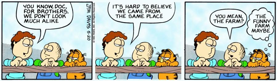 Оригинал комикса про Гарфилда от 20 мая 1983 года