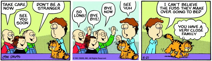 Оригинал комикса про Гарфилда от 21 мая 1983 года