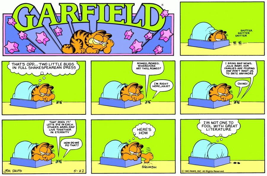 Оригинал комикса про Гарфилда от 22 мая 1983 года