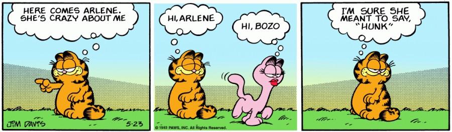 Оригинал комикса про Гарфилда от 23 мая 1983 года