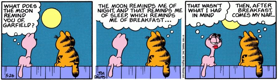 Оригинал комикса про Гарфилда от 26 мая 1983 года