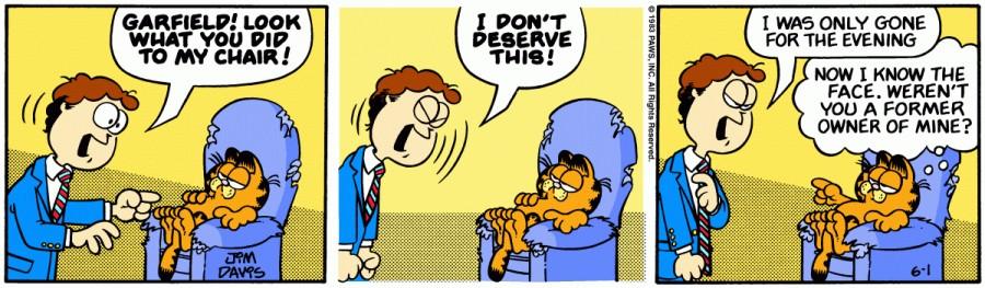 Оригинал комикса про Гарфилда от 01 июня 1983 года