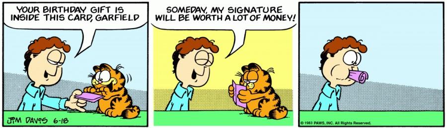 Оригинал комикса про Гарфилда от 18 июня 1983 года