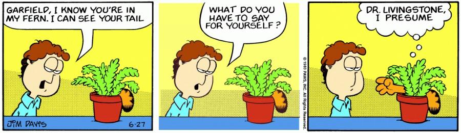 Оригинал комикса про Гарфилда от 27 июня 1983 года