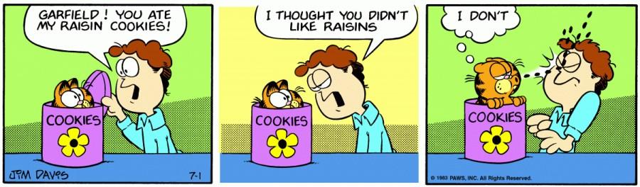 Оригинал комикса про Гарфилда от 01 июля 1983 года