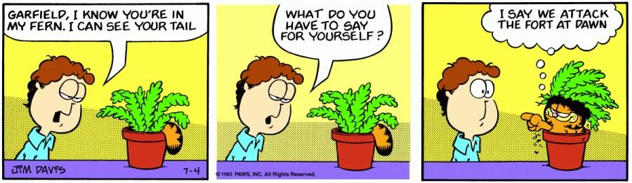 Оригинал комикса про Гарфилда от 04 июля 1983 года