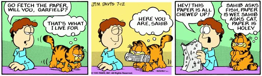 Оригинал комикса про Гарфилда от 12 июля 1983 года