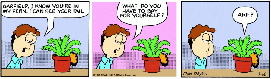 Оригинал комикса про Гарфилда от 16 июля 1983 года