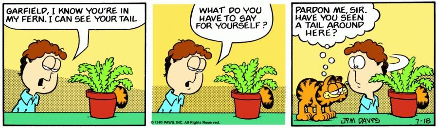 Оригинал комикса про Гарфилда от 18 июля 1983 года