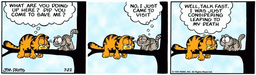 Оригинал комикса про Гарфилда от 22 июля 1983 года