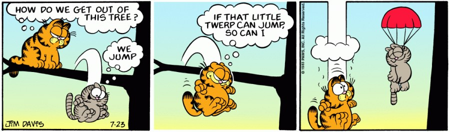 Оригинал комикса про Гарфилда от 23 июля 1983 года