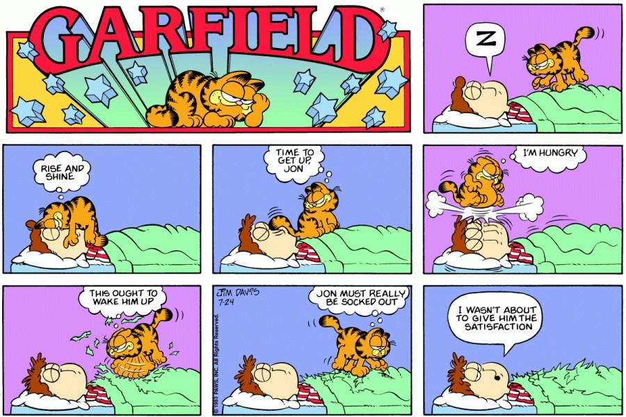 Оригинал комикса про Гарфилда от 24 июля 1983 года