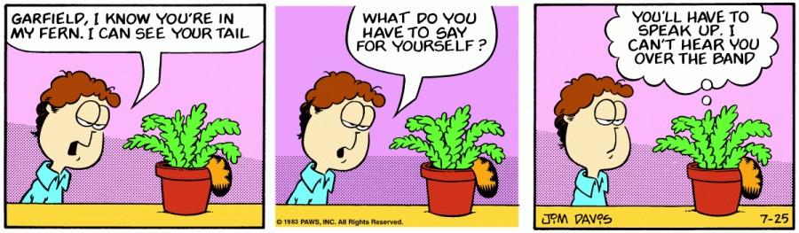 Оригинал комикса про Гарфилда от 25 июля 1983 года