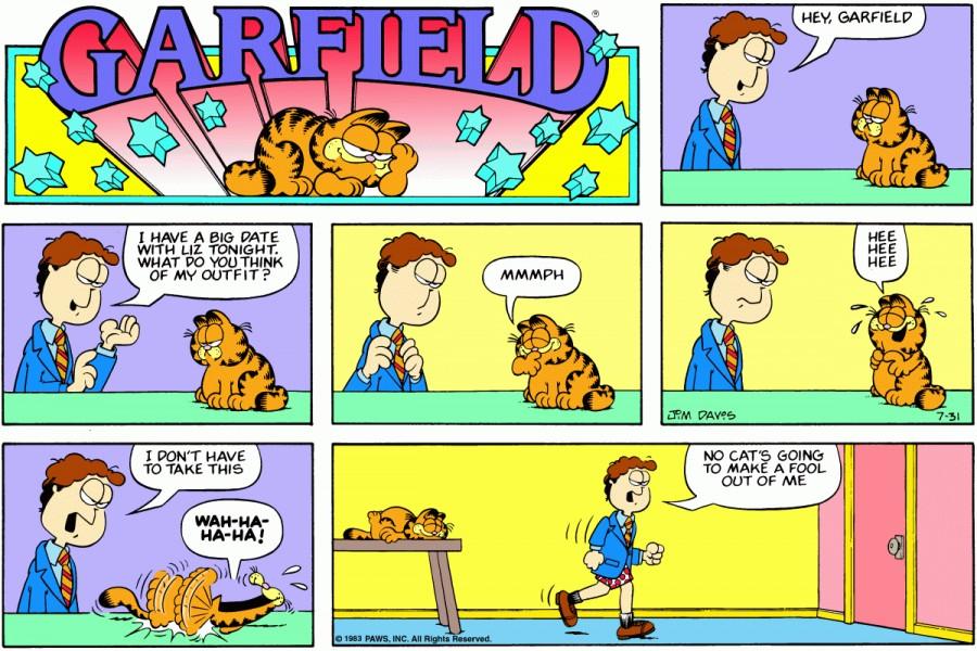 Оригинал комикса про Гарфилда от 31 июля 1983 года