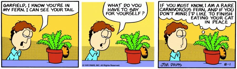 Оригинал комикса про Гарфилда от 01 августа 1983 года