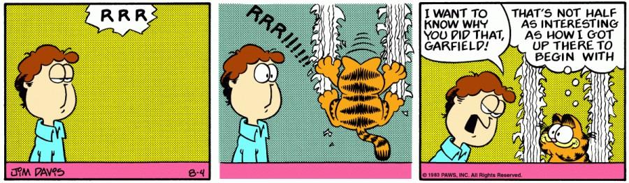 Оригинал комикса про Гарфилда от 04 августа 1983 года