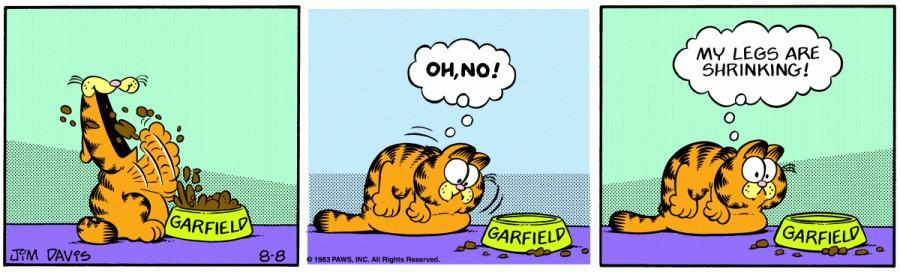 Оригинал комикса про Гарфилда от 08 августа 1983 года