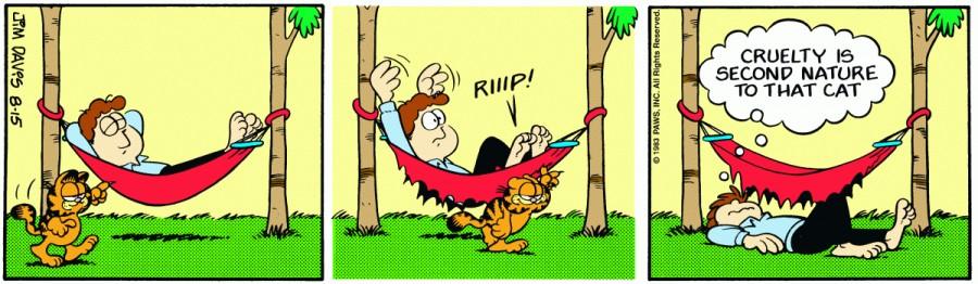 Оригинал комикса про Гарфилда от 15 августа 1983 года