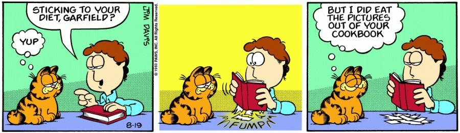 Оригинал комикса про Гарфилда от 19 августа 1983 года