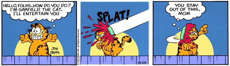 Оригинал комикса про Гарфилда от 23 августа 1983 года