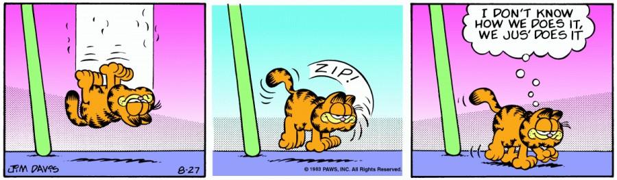 Оригинал комикса про Гарфилда от 27 августа 1983 года