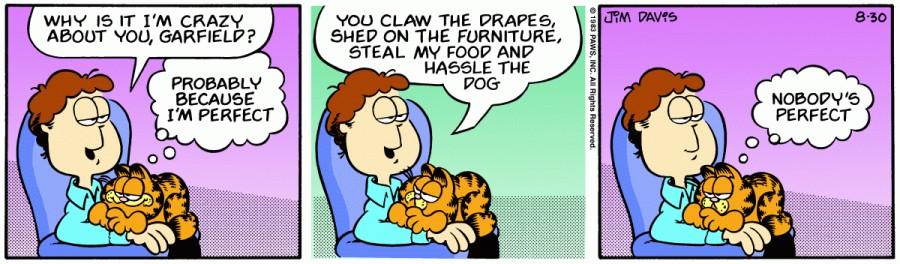 Оригинал комикса про Гарфилда от 30 августа 1983 года