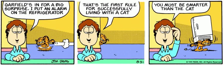 Оригинал комикса про Гарфилда от 31 августа 1983 года