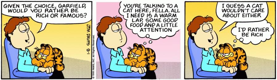 Оригинал комикса про Гарфилда от 01 сентября 1983 года