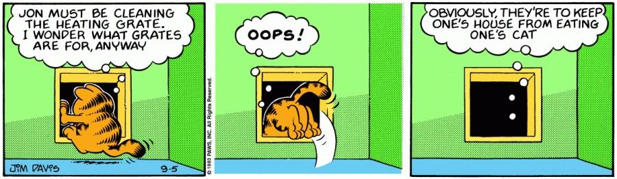 Оригинал комикса про Гарфилда от 05 сентября 1983 года