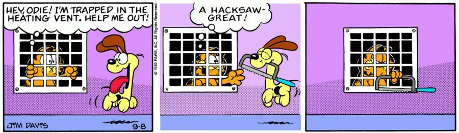 Оригинал комикса про Гарфилда от 08 сентября 1983 года