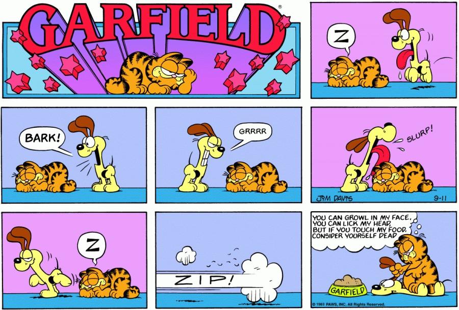 Оригинал комикса про Гарфилда от 11 сентября 1983 года
