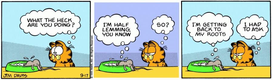 Оригинал комикса про Гарфилда от 17 сентября 1983 года