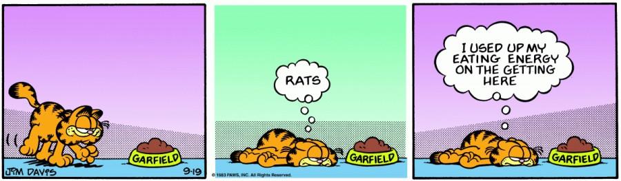 Оригинал комикса про Гарфилда от 19 сентября 1983 года