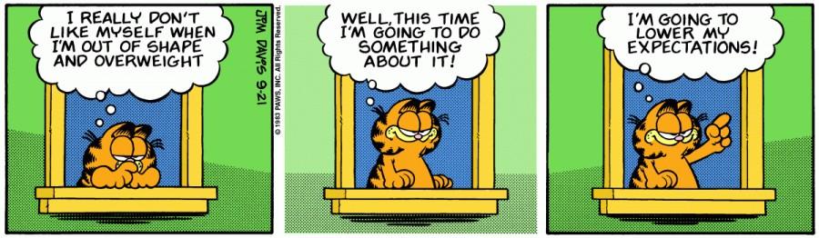 Оригинал комикса про Гарфилда от 21 сентября 1983 года