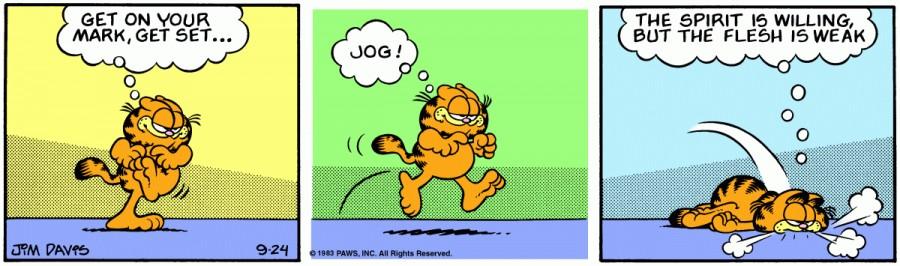 Оригинал комикса про Гарфилда от 24 сентября 1983 года