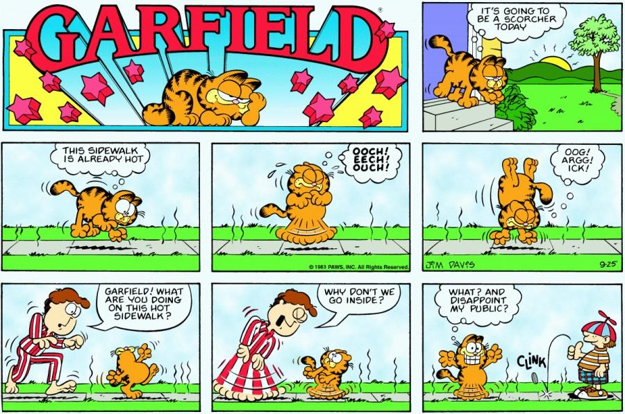 Оригинал комикса про Гарфилда от 25 сентября 1983 года