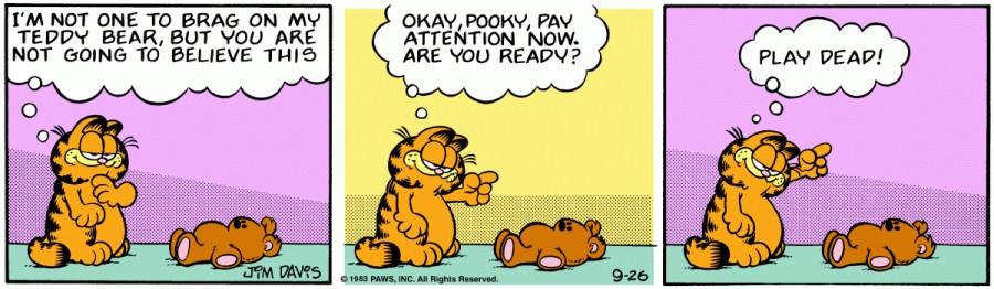 Оригинал комикса про Гарфилда от 26 сентября 1983 года