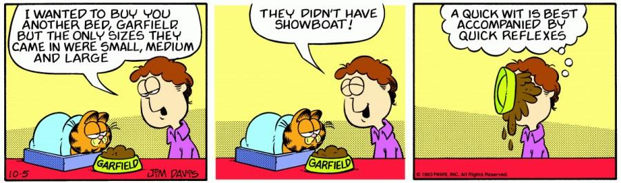 Оригинал комикса про Гарфилда от 05 октября 1983 года